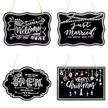 UNIQOOO 10x14 inch Hanging Decorative Chalkboard Sign, Double-Sided Non Porous Wooden Signage Message Board Home Welcome Signs, Perfect for Wedding ...
