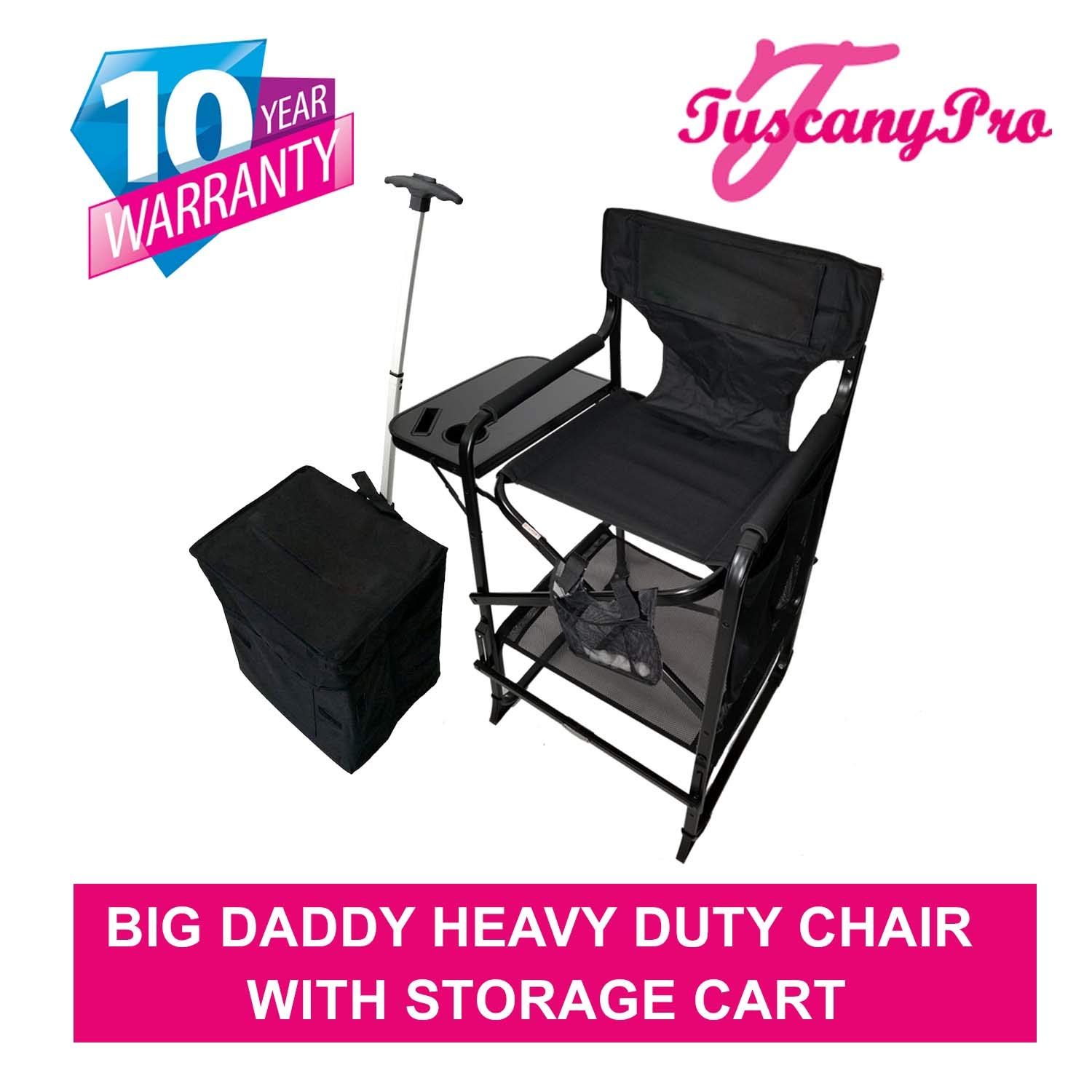 TUSCANYPRO MakeUp Artist''Big Daddy'' HEAVY DUTY Tall PRO Chair-10 Years Warranty PRODUCT-A BONUS MAKE UP CASE INCLUDED WITH YOUR CHAIR!!!BIGGER,WIDER AND BETTER-350 Lb/Max Weight Cap. by Oasis