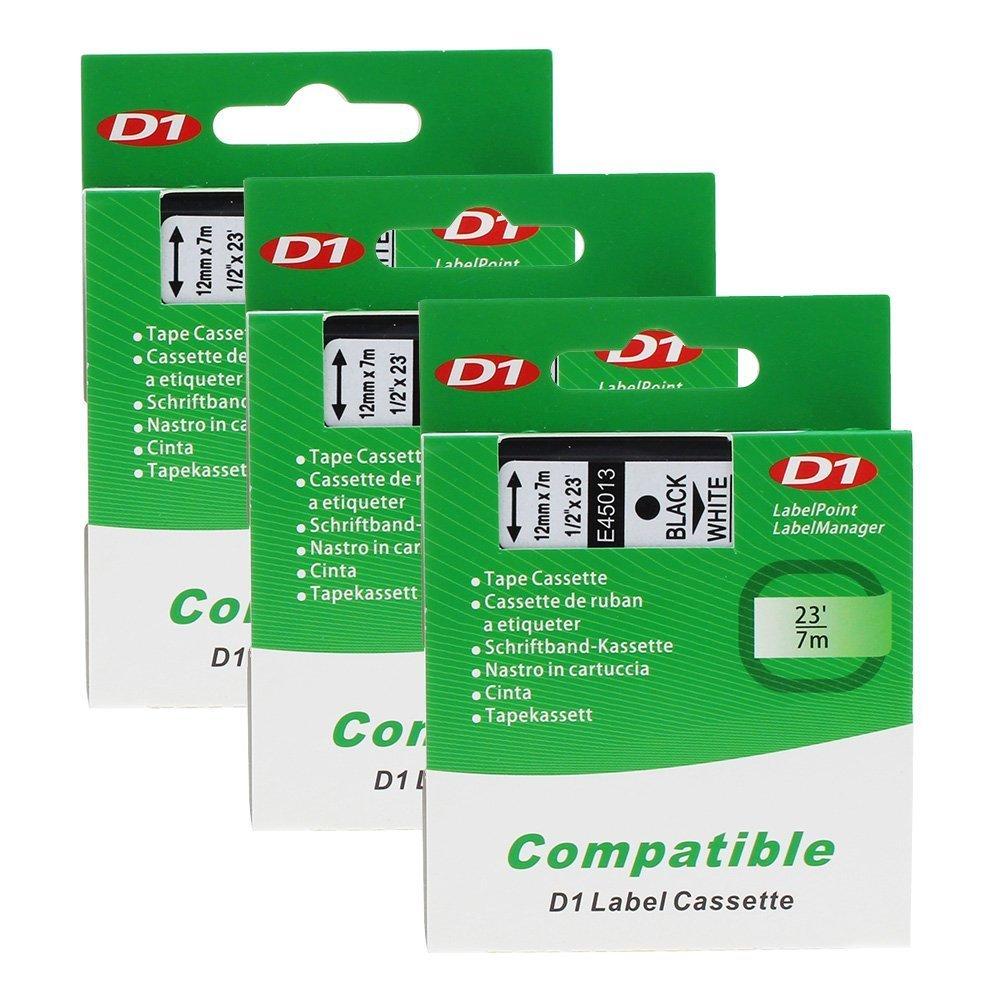D1 Label Tape 45013 S0720530 Compatible for DYMO LabelManager 160 Black on White 12 mm x 7 m, 3 Cartridges Unistar D1 45013