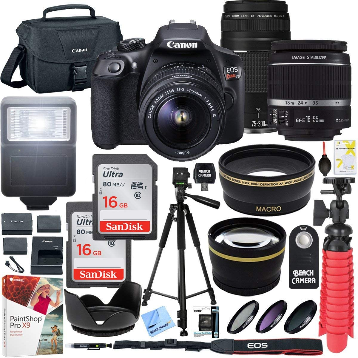 Canon T6 Eos Rebel Dslr Camera With Ef S 18 55mm F 3 5 5 6 Is Ii And Ef 75 300mm F 4 5 6 Iii Lens And Sandisk Memory Cards 16gb 2 Pack Plus Triple