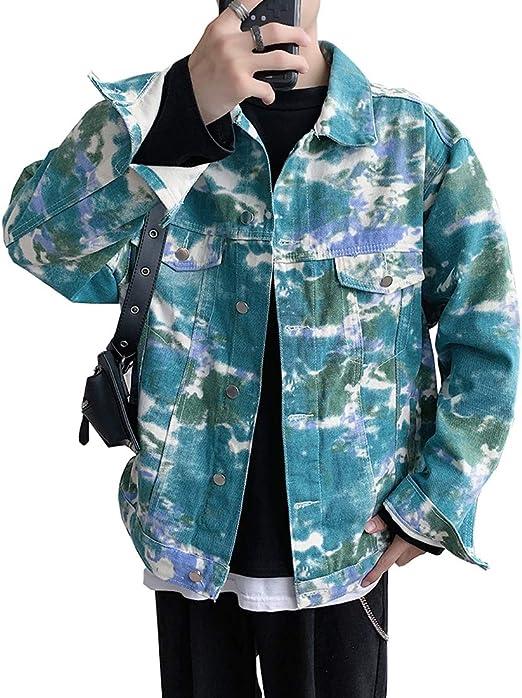 NOQINHOO デニム ジャケット 花柄 アウター 大きいサイズ カジュアル ファッション 春秋 冬服 メンズ 服