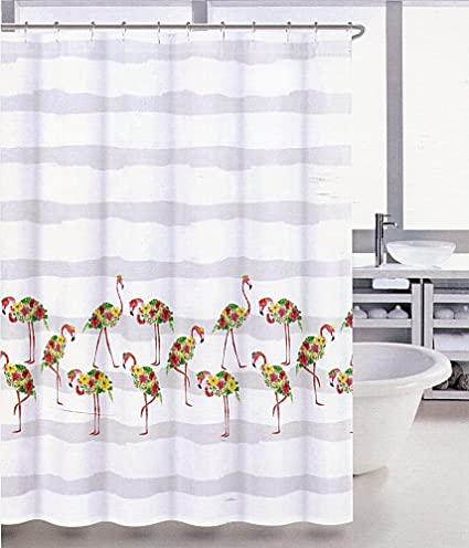 Image Unavailable Not Available For Color Coastal Collection Tropical Flamingo Fabric Shower Curtain
