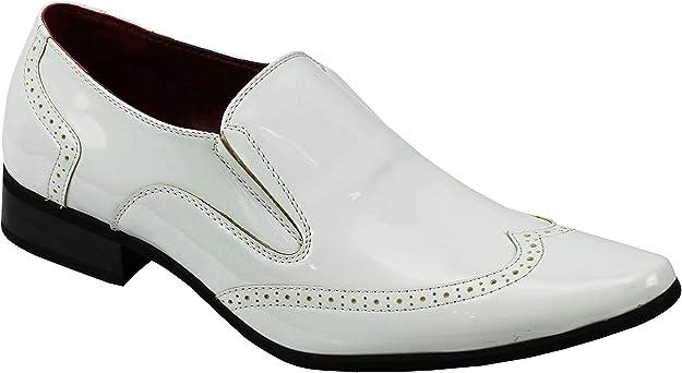 TALLA 46 EU. Zapatos De Boda Retro Vestido Brillante De Charol Partido Inteligente De Los Holgazanes De Los Hombres Brogue