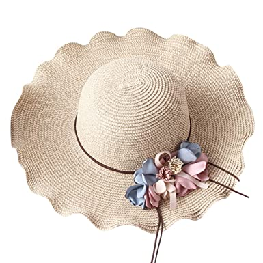 Aloiness Panama Summer Vintage Style Seagrass Hat Foldable Wide Brim Straw  Beach Hats for Hiking Camping 76a66ede6e07