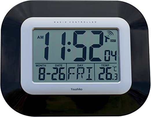 Reloj digital de pared con radio control., negro, 23 x 3 x 18cm ...