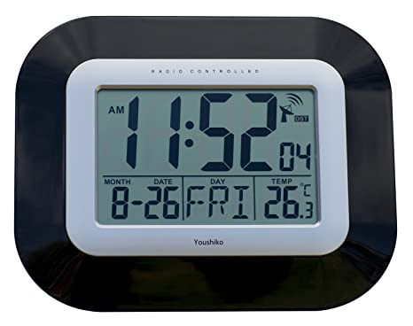 Reloj digital de pared con radio control., negro, 23 x 3 x 18cm