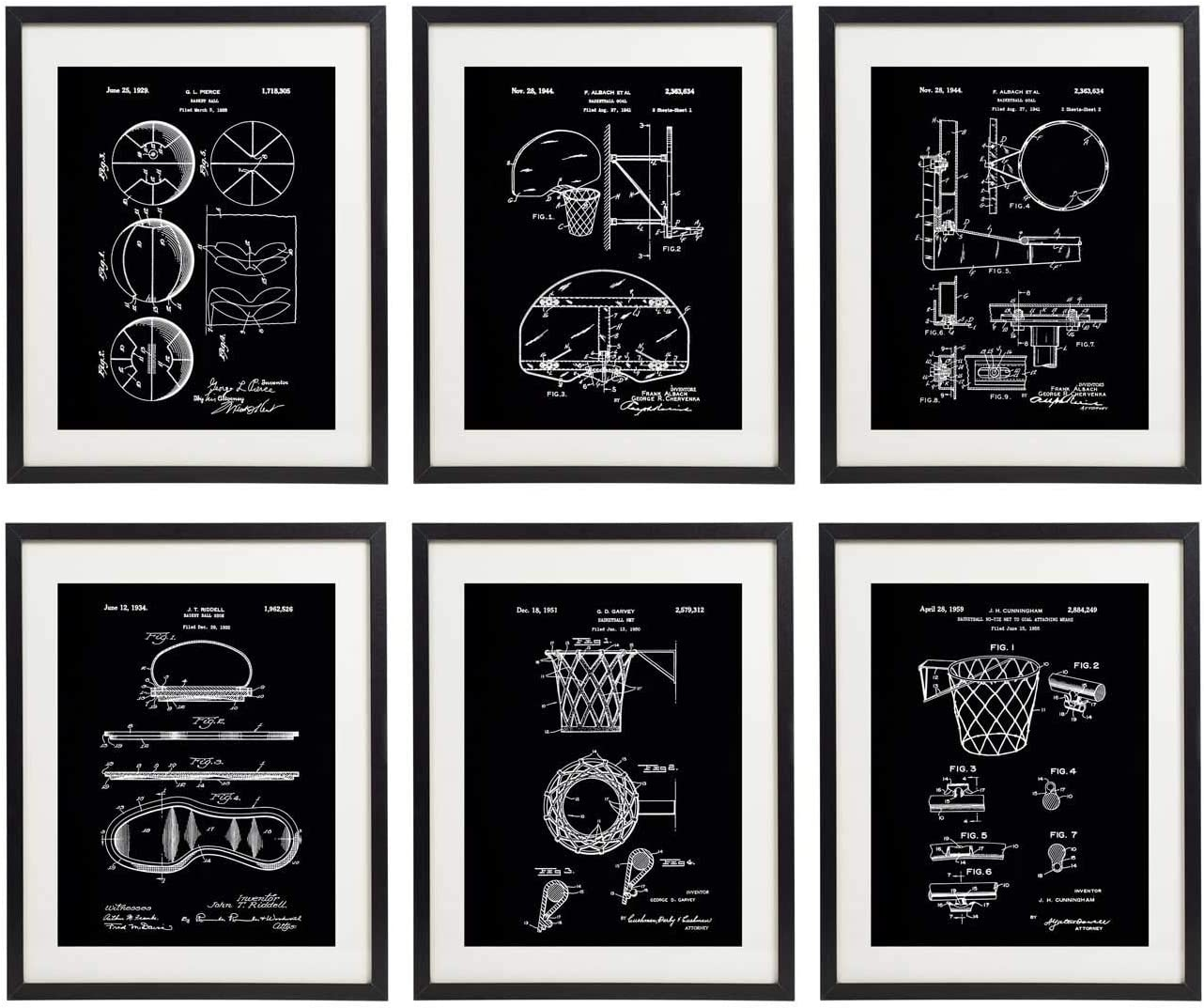 IDIOPIX Basketball Patent Art Prints No.1 Home Decor Wall Art Set of 6 UNFRAMED