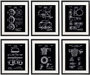 IDIOPIX Basketball Patent Art Prints No.1 Home Decor Wall Art Set of 6 UNFRAMED