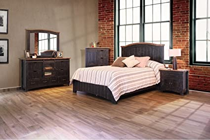 Amazon.com: Distressed Black Barn Door Anton Queen Bedroom ...