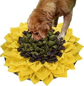 Liakk Snuffle Mat for Dogs, Dog Feeding Mat, Dog Puzzle Toys, for Encourgaing Natural Foraging Skills for Cats Dogs (Sunflower)