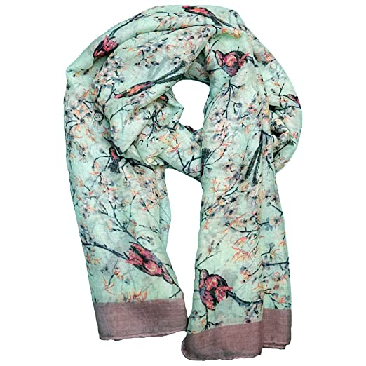 Bird Watcher Scarf Gift Idea - Light Green Delicate Nature Pattern Women and Girls