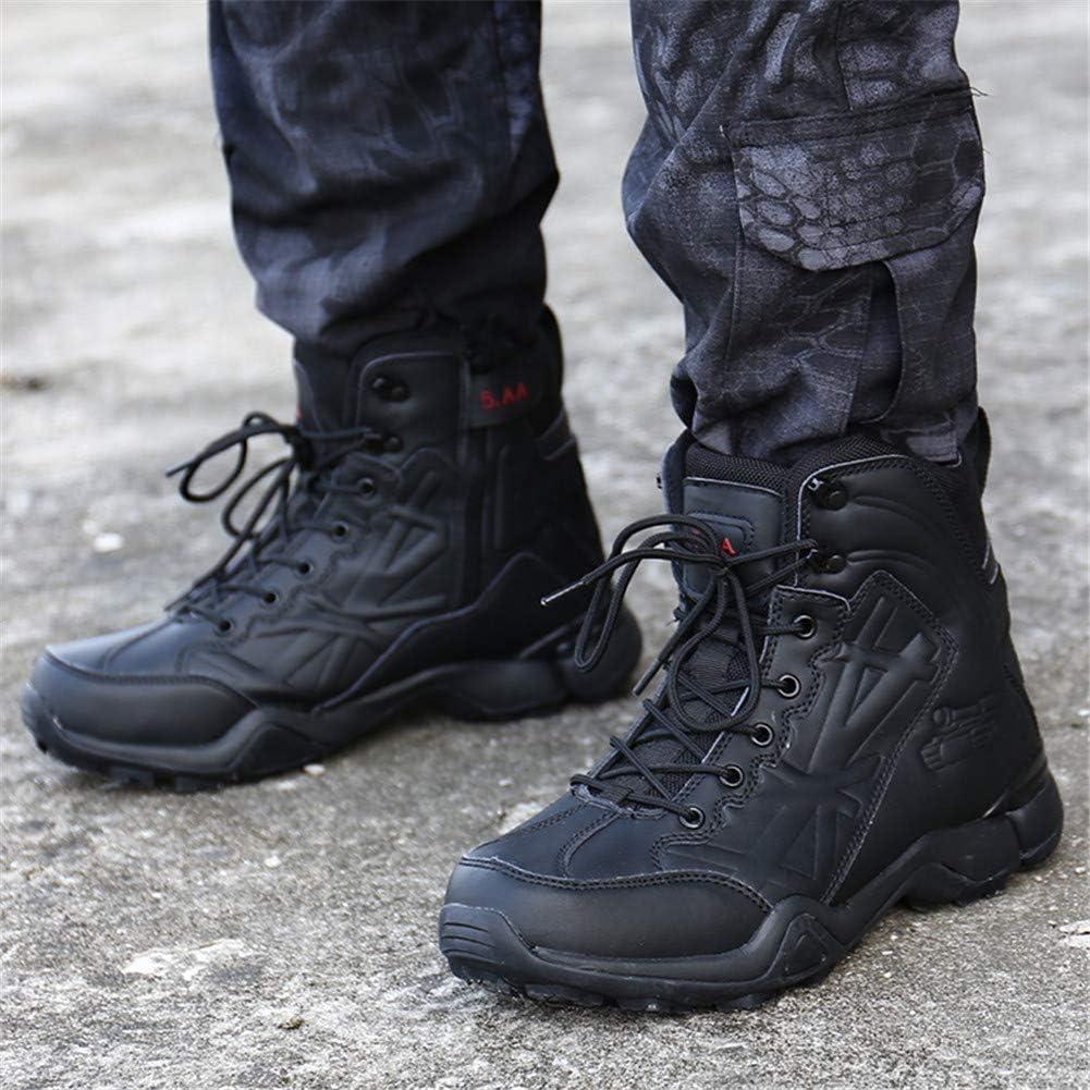 WOJIAO Taktische Stiefel für Herren Dreieck mit seitlichem Reißverschluss Combat Verschleißfeste Militärschuhe Schwarz EU 45 Schwarz 0cxWe