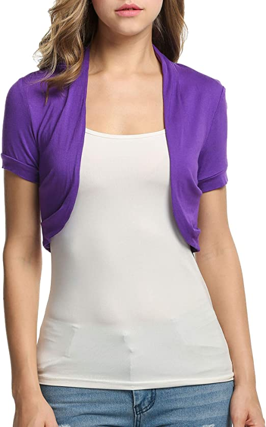 TALLA XS. Beyove - Bolero de punto para mujer, manga corta, con laterales plisados, material suave