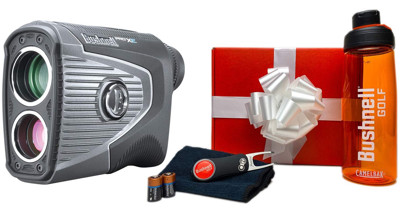 Bushnell Pro XE Golf Laser Rangefinder Premium Bushnell Golf Gift Box Premium Water Bottle, CR2 Batteries, Pitchfix Divot Tool Microfiber Towel Slope, PinSeeker with JOLT, BITE 201950
