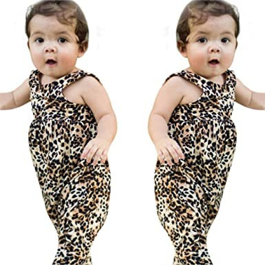 0e29de8a265a BURFLY Summer Fashion Toddler Baby Girl Boys Leopard Romper Jumpsuit O Neck  Playsuit Sleeveless Clothes Casual Outfits  Amazon.co.uk  Clothing
