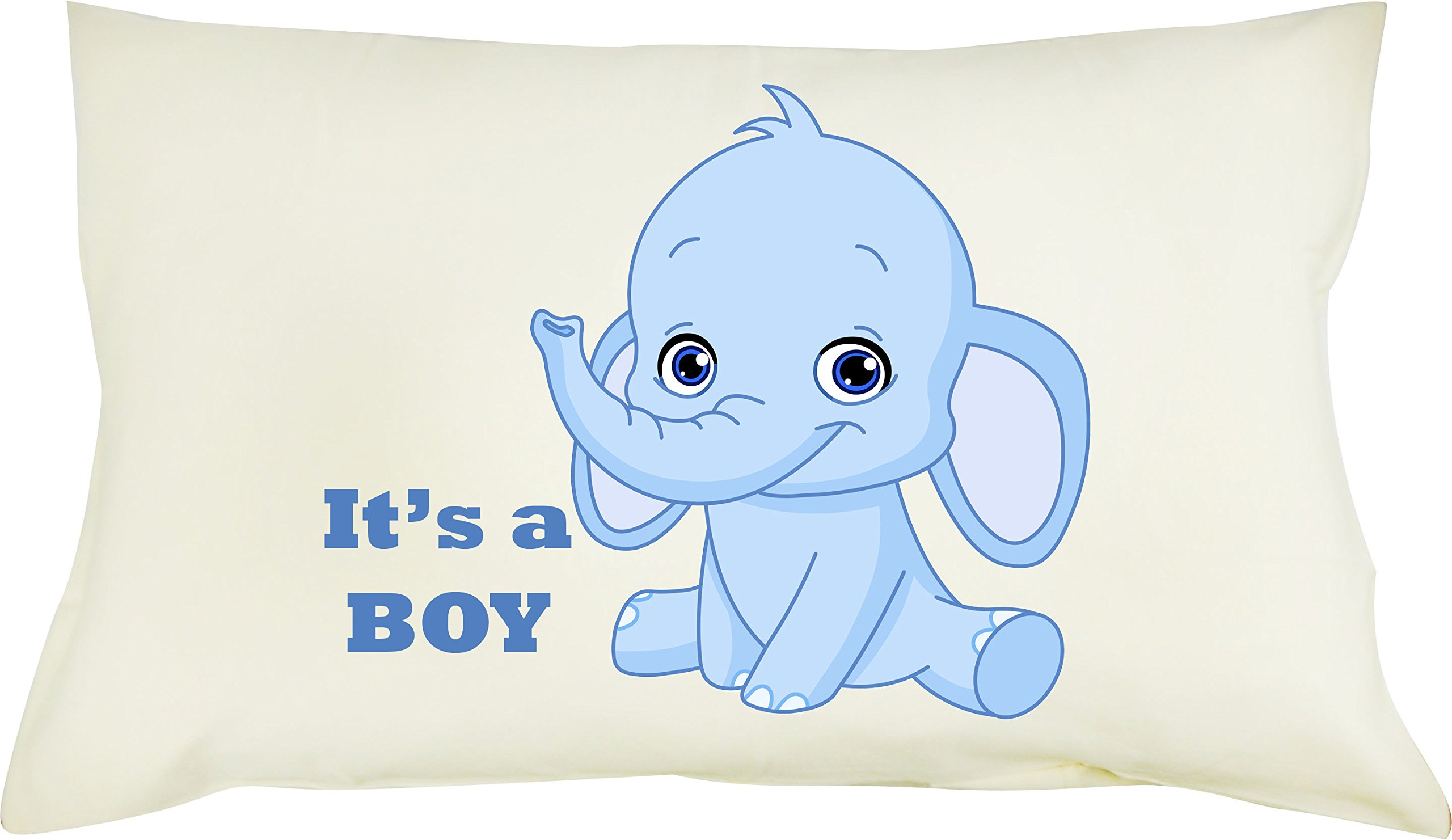 Totmart 100% Cotton Boys, Girls, Pillowcase with Hypoallergenic Pillow for Toddler 19 X 12.5 Monkey, Elephant pictures (Blue elephant)