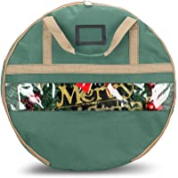Onway Christmas Wreath Storage Bag With Clean Window And Transparent Card Slot for Labeling