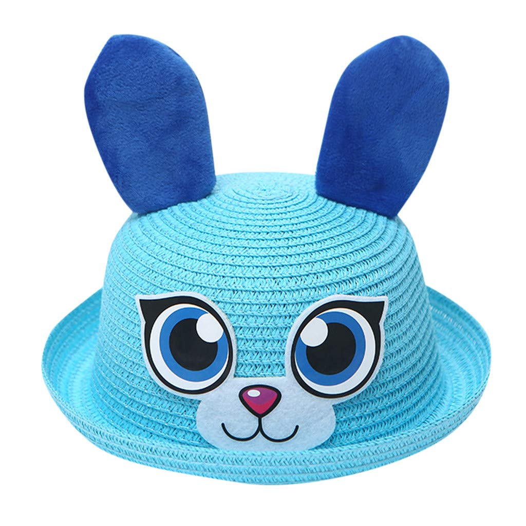 Childrens Cartoon Beach Bunny Hat Sunscreen Curling Straw Hat Small Hat Visor Fisherman Hat
