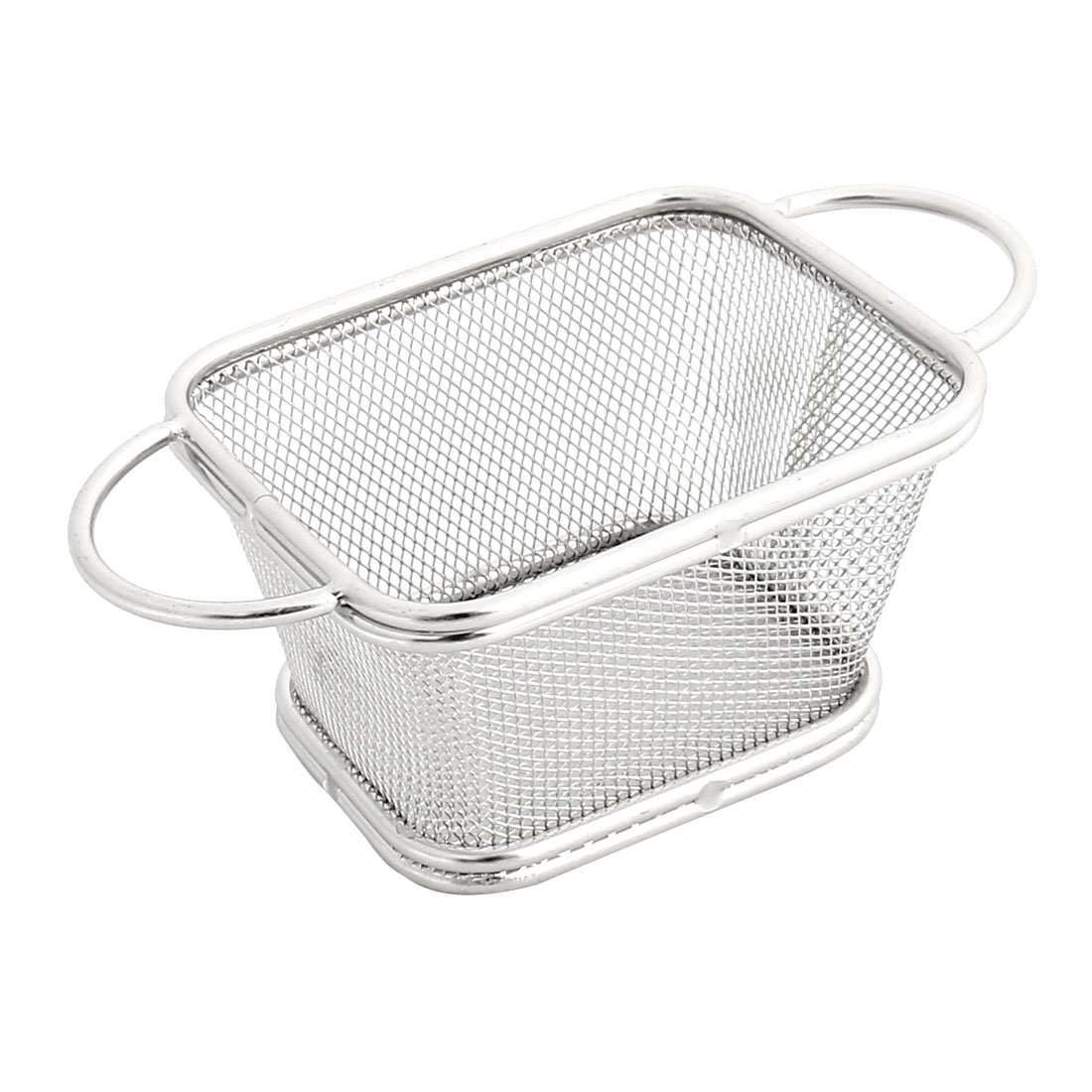 uxcell Stainless Steel Mini Mesh Fried Chicken Steak Fry Chips Basket Silver Tone