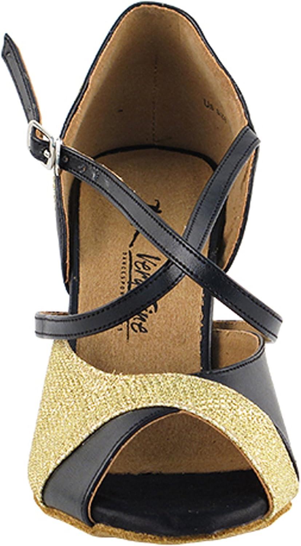 Womens Ballroom Dance Shoes Tango Wedding Party Latin Salsa Dance Shoes Gold Glitter Satin 2828LEDSSEB Comfortable Very Fine 3.5 Heel 8.5 M US