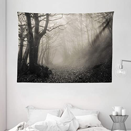 Ambesonne Gothic Tapestry, Pathway on The Gothic Forest Trees Trough Foggy Mysterious Nature Monochrome Artwork, Wide Wall Hanging for Bedroom Living Room Dorm, 80 X 60 , Grey Sepia