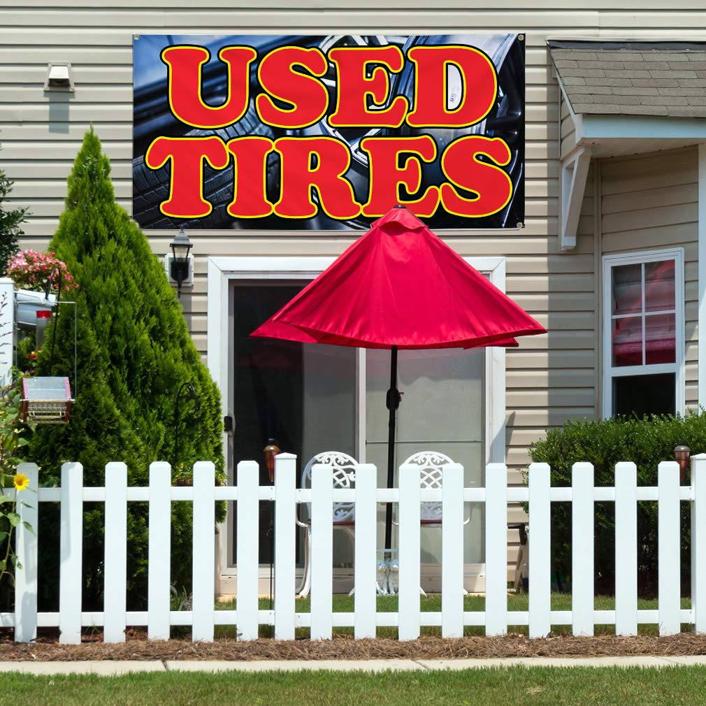 28inx70in Set of 2 Multiple Sizes Available 4 Grommets Vinyl Banner Sign Used Tires Auto Car Vehicle Style U Marketing Advertising Black