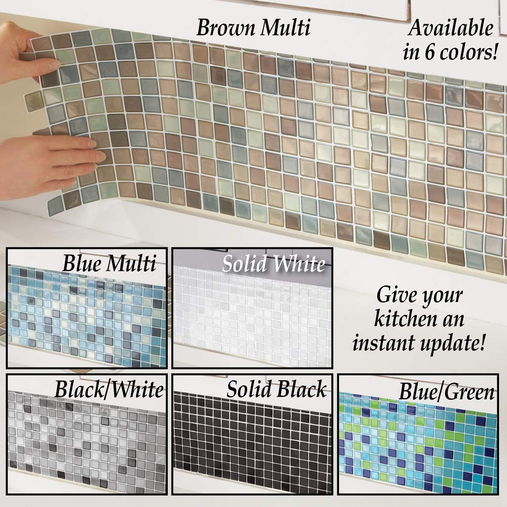 Collections Etc Multi-Colored Adhesive Mosaic Backsplash Tiles for Kitchen and Bathroom - Set of 6, Brown Multi by Collections Etc (Image #5)