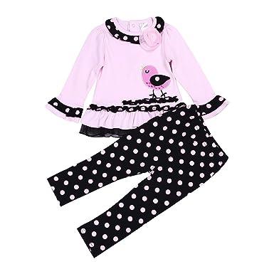 98e95514406cf TiaoBug Ensemble de Vêtement Bébé Fille T-Shirt Manches Longues   Pantalon  à Pois 9