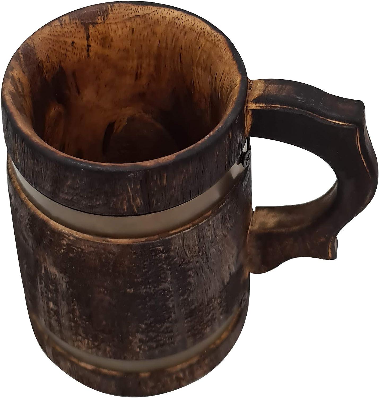 Antique Retro Rustic Brown Handmade Wood Beer Mug Medieval Inspired Souvenir Metal Strap Tankard