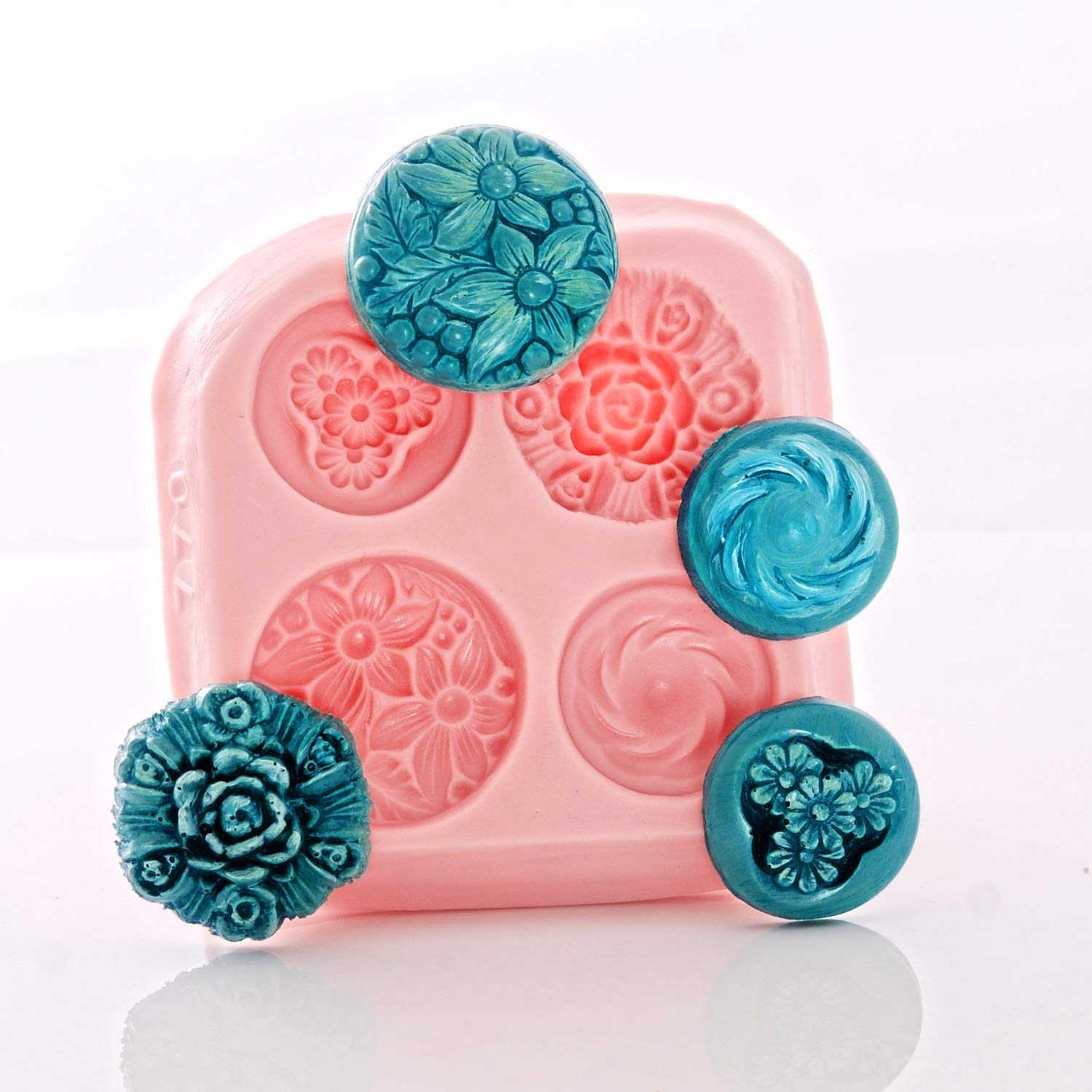 Flower Vintage Style Button Silicone Mold Fondant Chocolate Mint Resin Polymer Clay Jewelry Craft Mold