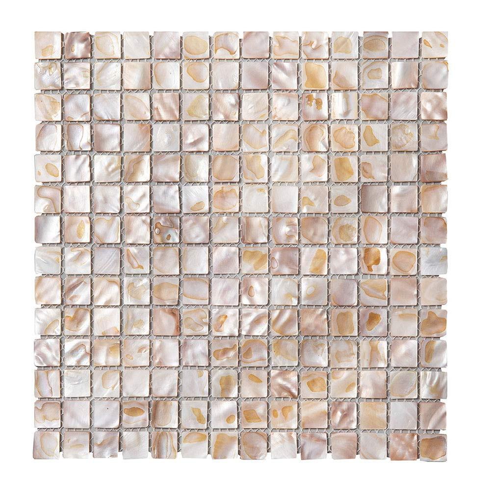 Diflart Oyster Mother of Pearl Shell Mosaic Tile 10 Sheets/Box (Square, Dark Colorful Oyster)