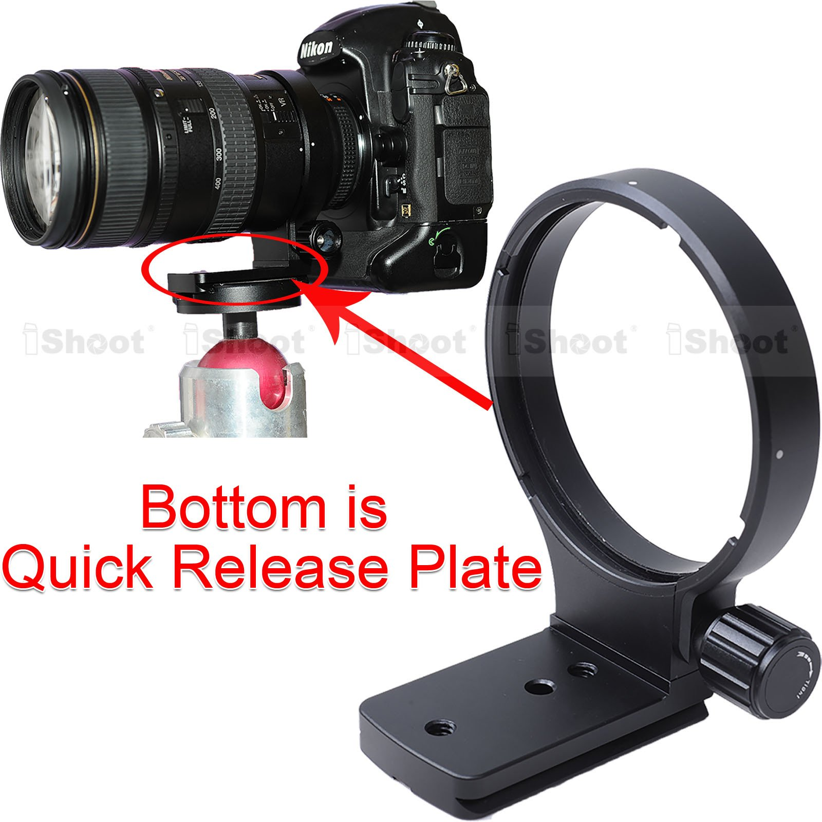 CNC Precisely Machined Lens Support Collar Tripod Mount Ring for Nikon AF 80-400mm f/4.5-5.6D ED VR and Nikon AF-S 300mm f/4D IF-ED -Bottom is Camera Quick Replease Plate Feature by iShoot