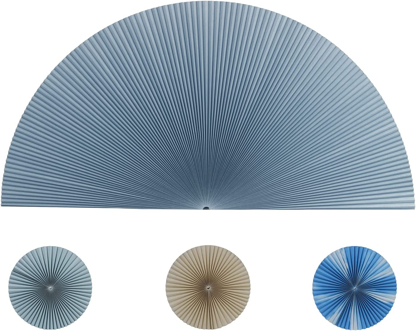 JDALL Cellular Honeycomb Pleated Blinds for Half Circle Arch WindowHalf Round Window Light Filtering Fabric Shade Quick Fix and Easy to Install-Blue 2 Packs
