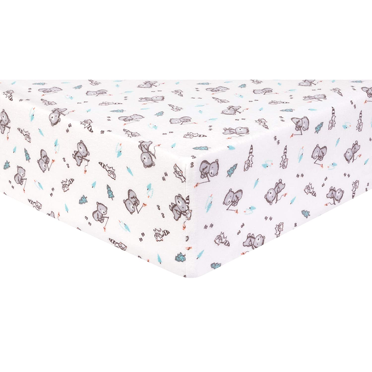 Trend Lab Deluxe Flannel Fitted Crib Sheet, Gone Fishing