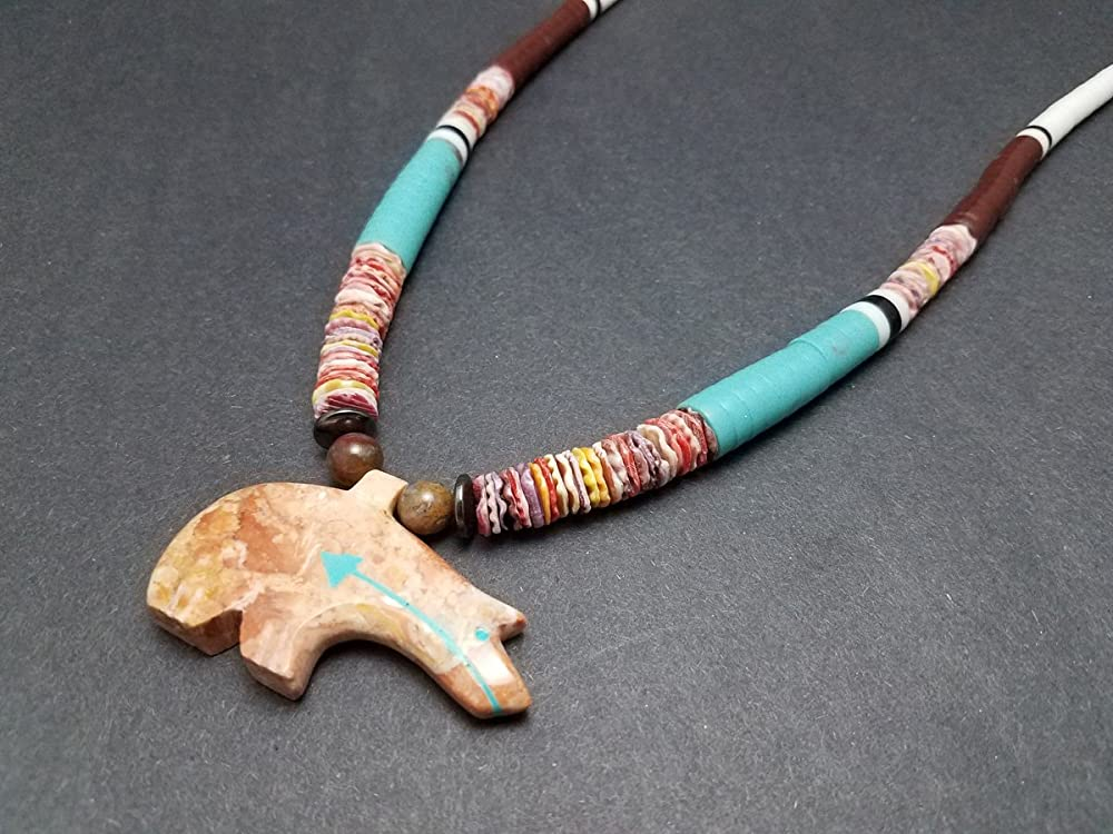 30 Inch Zuni Style Carved Bear Fetish and New Jade Necklace with Earrings
