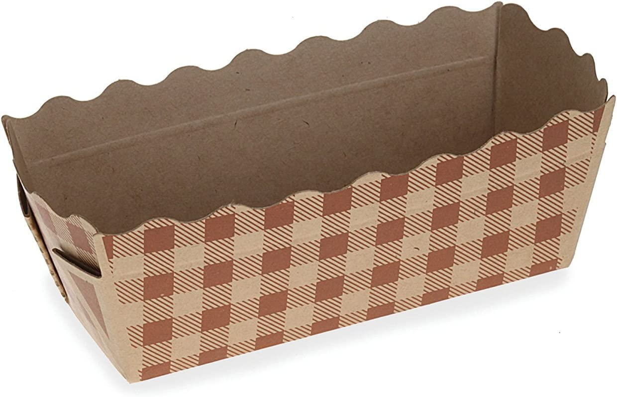 Welcome Home Brands BT8143 Check Paper Mini-Loaf Pan 4 Ounce Volume, 3.2 Inch x 1.2 Inch x 1.4 Inch High - Pack of 50