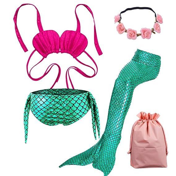 Lx-Top Cola de Sirena niña para Nadar Traje de baño de Set de Bikini Princesa 3 Piezas