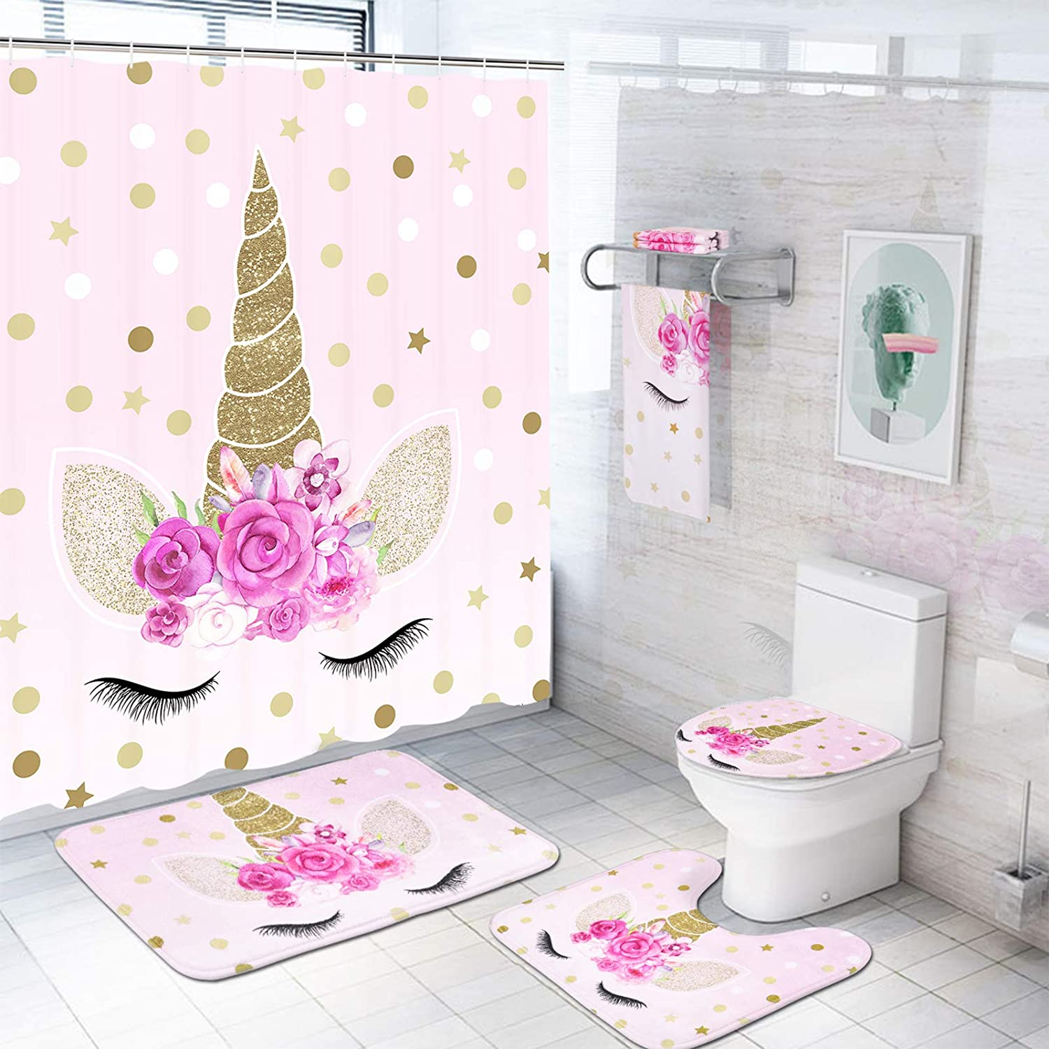 7 Pcs Unicorn Shower Curtain Sets with Rugs and Bath Towel, Non-Slip Rug, Toilet Lid Cover, Bath Mat and Towel, Pink Cartoon Unicorn Bathroom Shower Curtain with 12 Hooks for Kids Girl Bathroom, Large