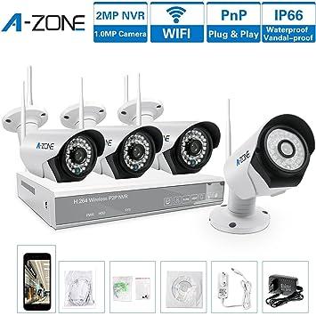 A-ZONE 4 Canal Sistemas de Seguridad 960P NVR 4x 1.0MP IP Camaras de Vigilancia Wifi Exterior sin Disco Duro de 2TB: Amazon.es: Bricolaje y herramientas