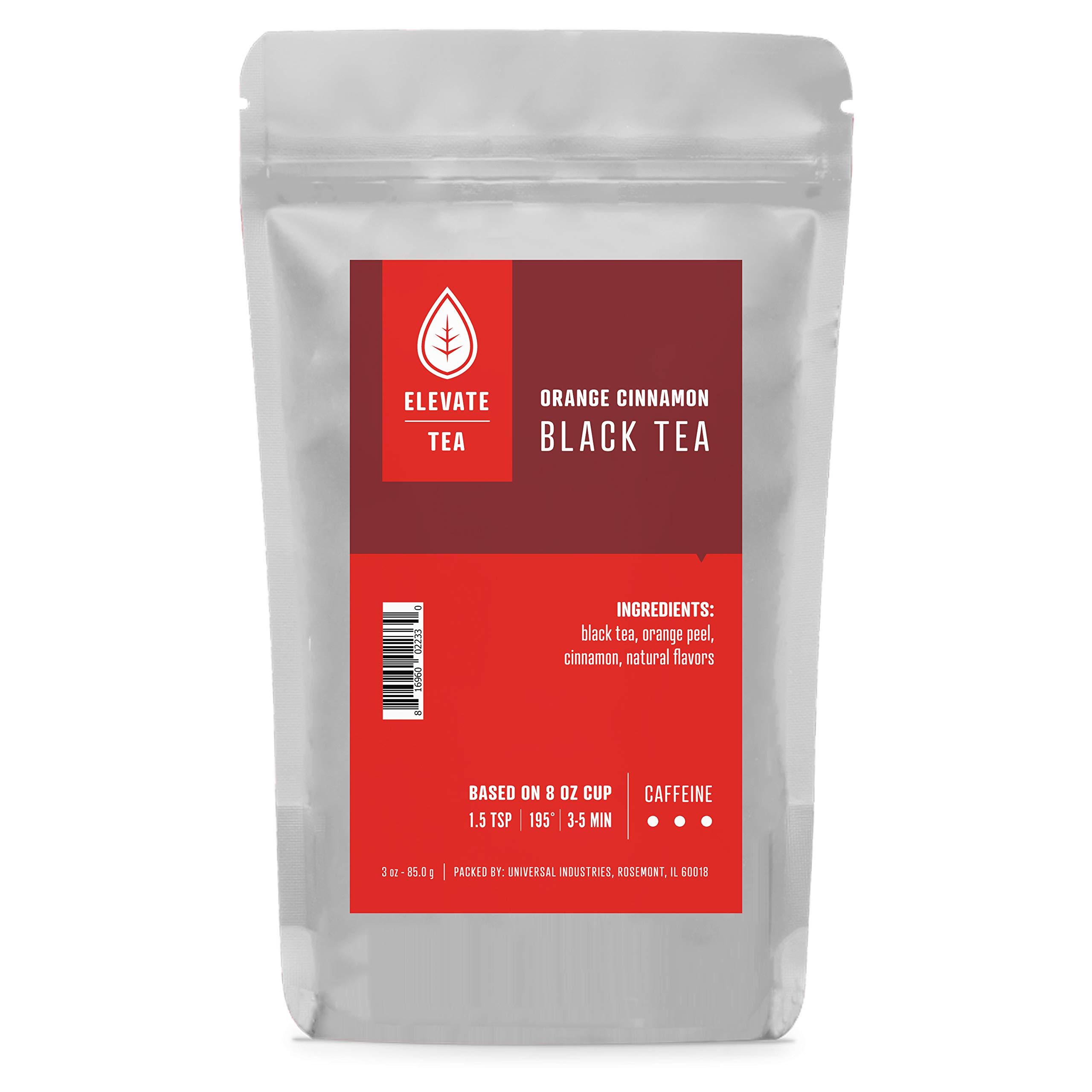 Elevate Tea ORANGE CINNAMON BLACK TEA, 30 servings, 3 Ounce Pouch, Caffeine Level: High, Single Unit