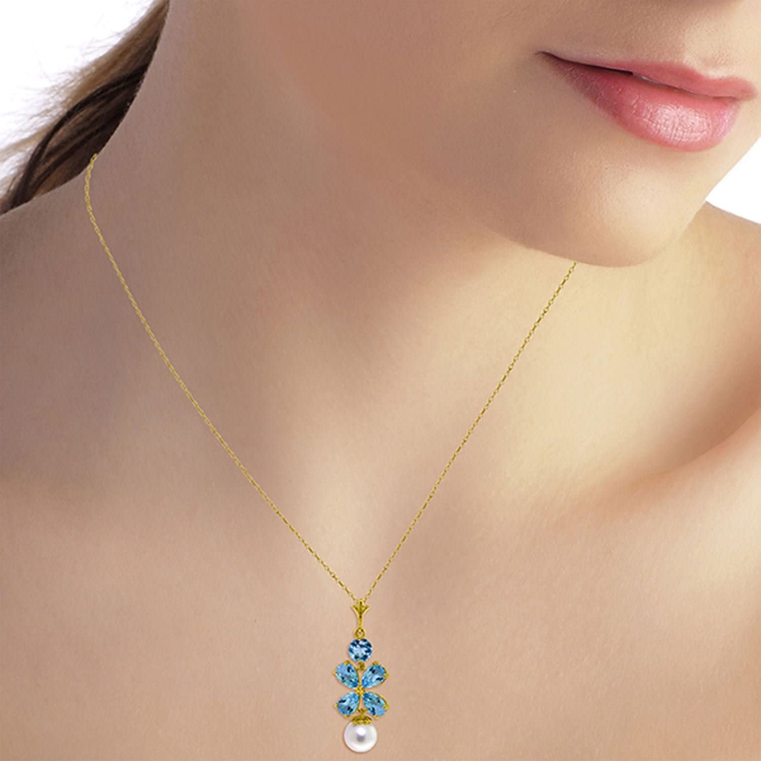 ALARRI 3.65 Carat 14K Soild Gold Seafoam Blue Topaz Pearl Necklace with 22 Inch Chain Length