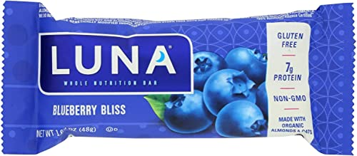 Clif Bar Luna Bar – Organic Blueberry Bliss – Case of 15 – 1.69 oz – 70 Organic –