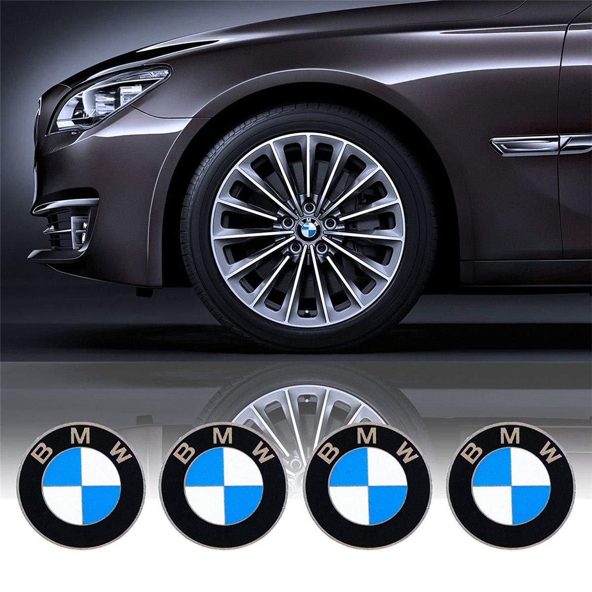Sinbow 4 x 68 mm Blue White Logo Badge Emblem Wheel Centre Hub Caps Series Fit BMW