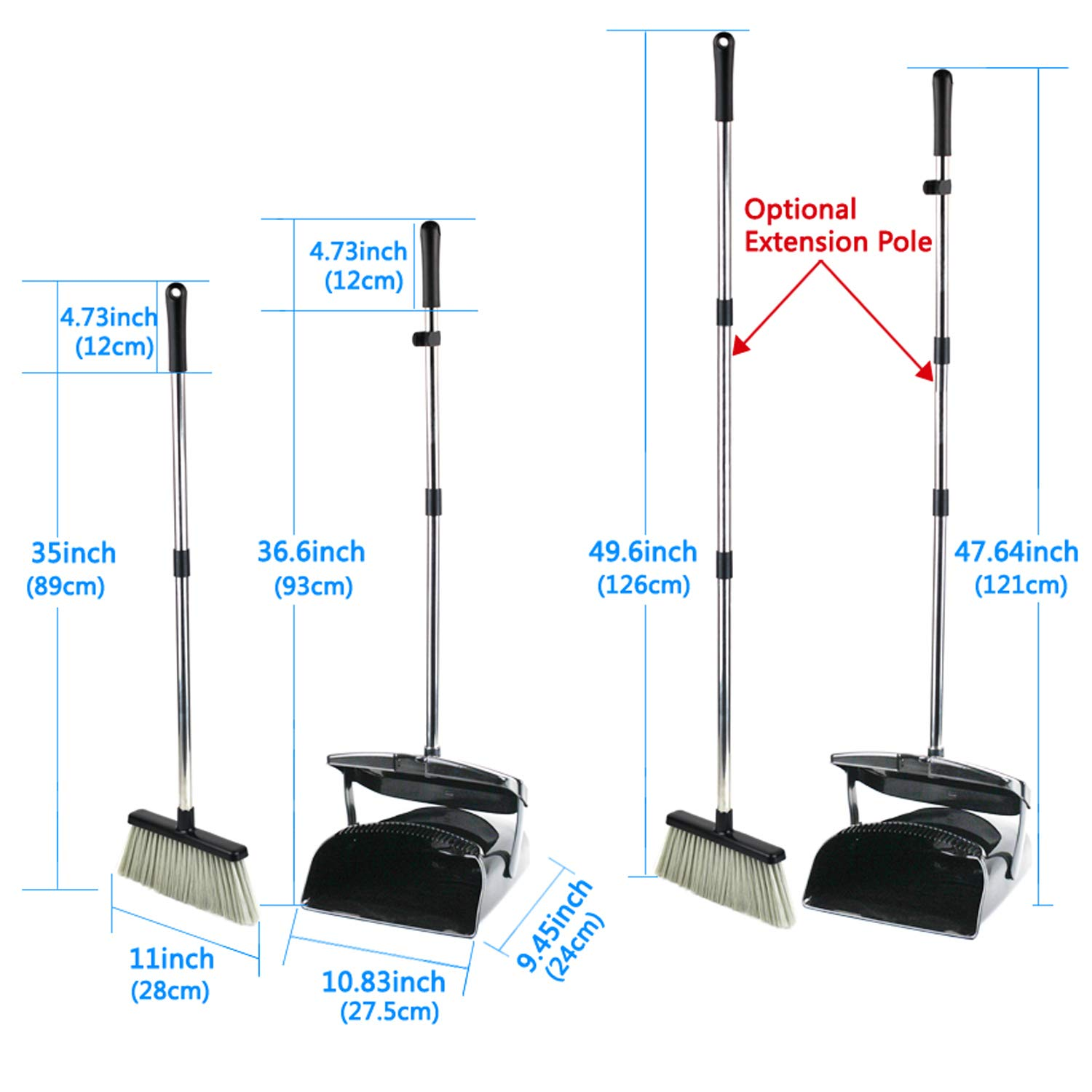 Broom and Dustpan Set, Commercial Long Handle Sweep Set and Lobby Broom,Upright Grips Sweep Set with Broom for Home, Kitchen, Room, Office and Lobby Floor Dust Pan & Broom Combo, Black by Laixiu (Image #3)