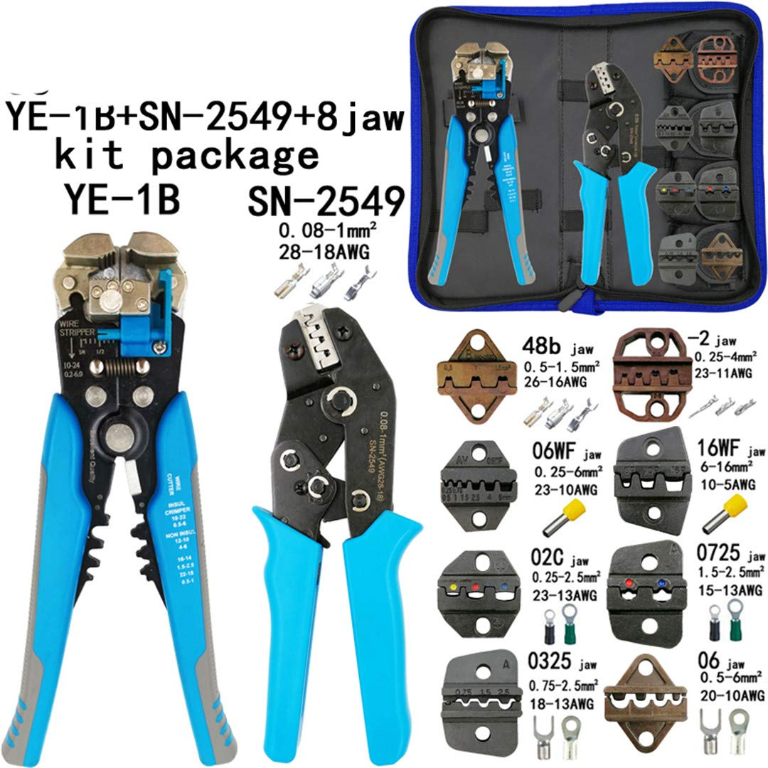 Kit Crimping Tools SN-2549 SN-48B Pliers Jaw Kit Stripping Wire Cutters Pliers For Plug/Tube/Insulation Terminals Calmp Tools SN-2549 Y1B 8jaw kit