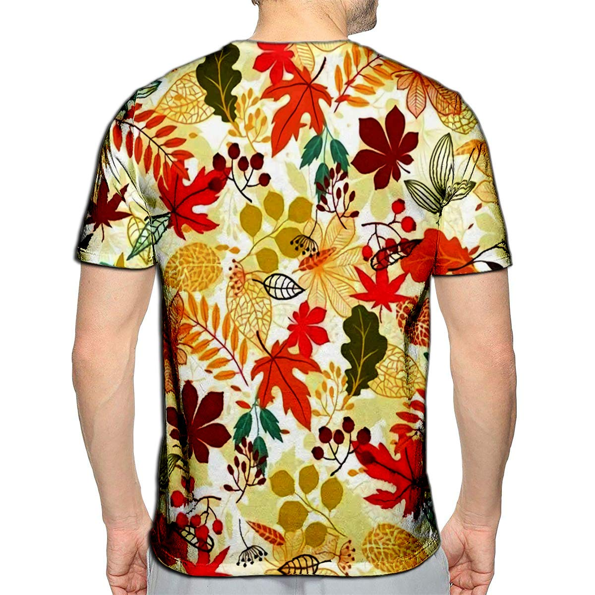 YILINGER 3D Printed T Shirts Stylized Autumn Leaves Casual Mens Hipster Top Tees