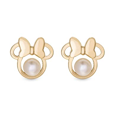 69c1fe5ae Disney Gold Jewelry for Woman and Girls, Minnie Mouse 14K Gold Pearl Stud  Earrings Mickey's
