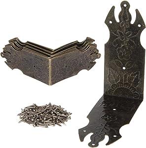 50 Pack Antique Decorative Vintage Case Box Corner Protectors Metal Guard Edge Cover Book Table Desk Jewelry Box Corner Decor