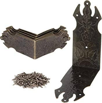 Hardware Vintage Book Corner Protector Box Decor Corner Brackets Antique Bronze