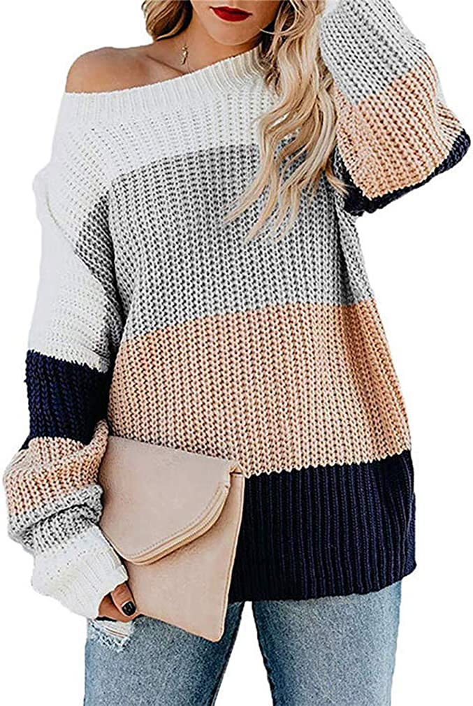 QIUUE Womens V-Neck Long Sleeve Patchwork Waffle Knit Tops Off Shoulder Oversized Pullover Sweater S-3XL